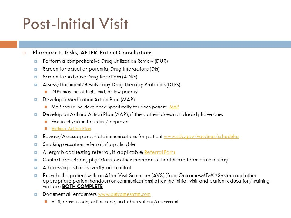 Post-Initial Visit Pharmacists Tasks, AFTER Patient Consultation:
