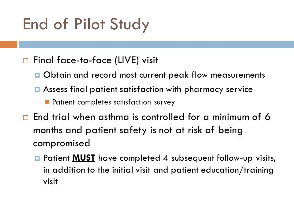 End of Pilot Study Final face-to-face (LIVE) visit