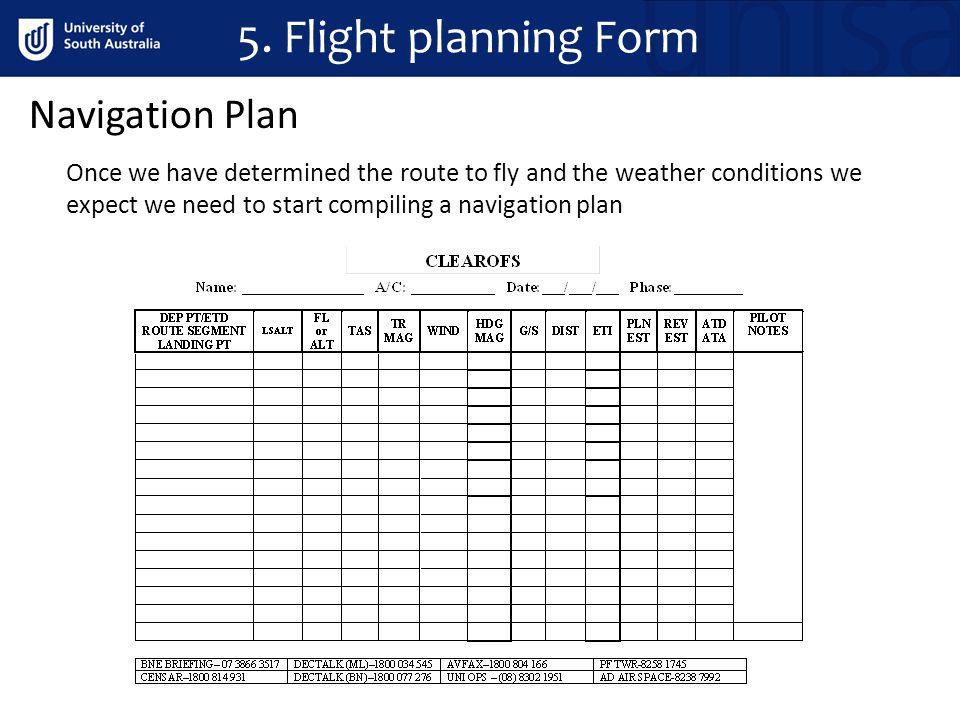 5. Flight planning Form Navigation Plan