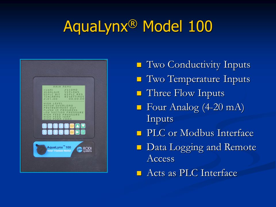 AquaLynx® Model 100 Two Conductivity Inputs Two Temperature Inputs