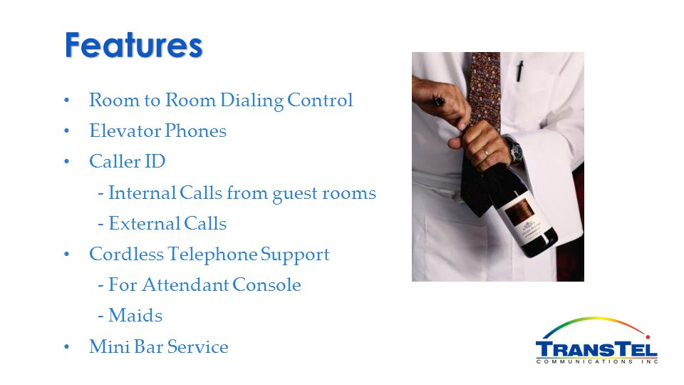 Features Room to Room Dialing Control Elevator Phones Caller ID