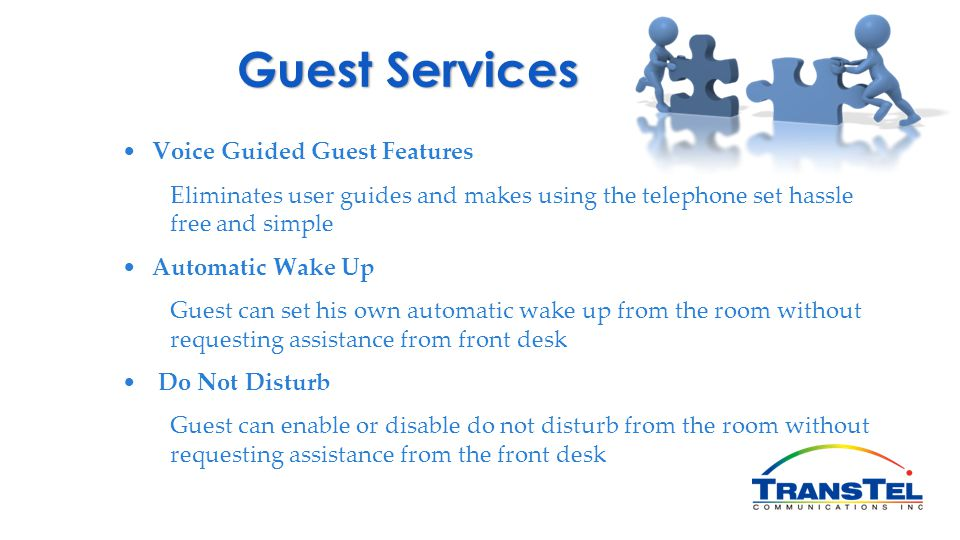 Guest Services Voice Guided Guest Features
