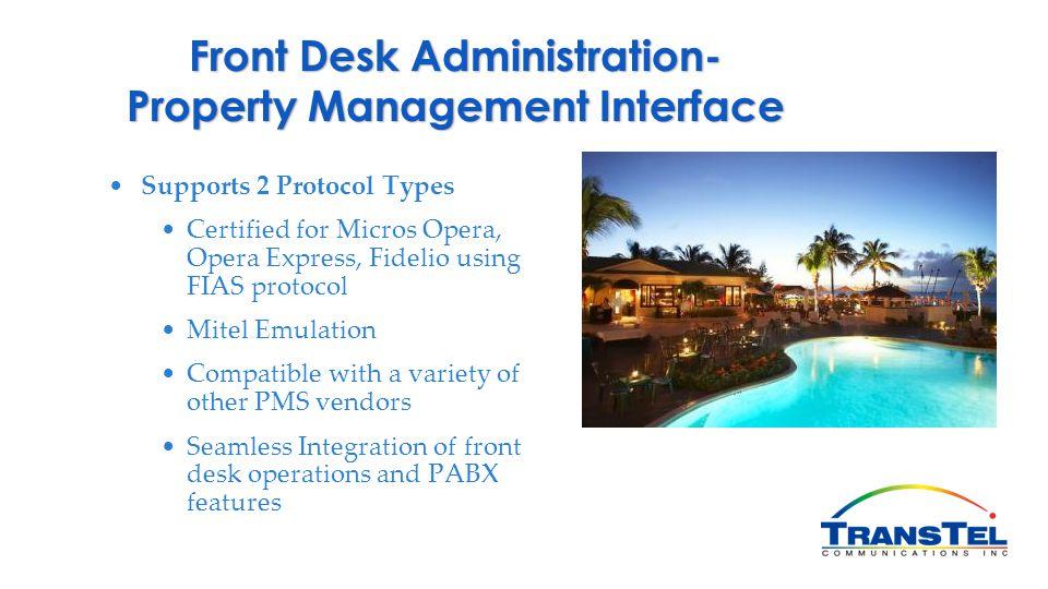 Front Desk Administration- Property Management Interface