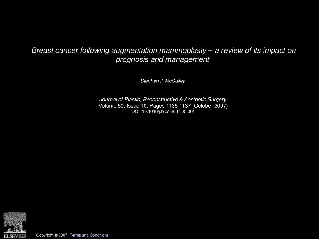 Breast Cancer Following Augmentation Mammoplasty A Review Of Its Impact On Prognosis And Management Stephen J Mcculley Journal Of Plastic Reconstructive Ppt Download