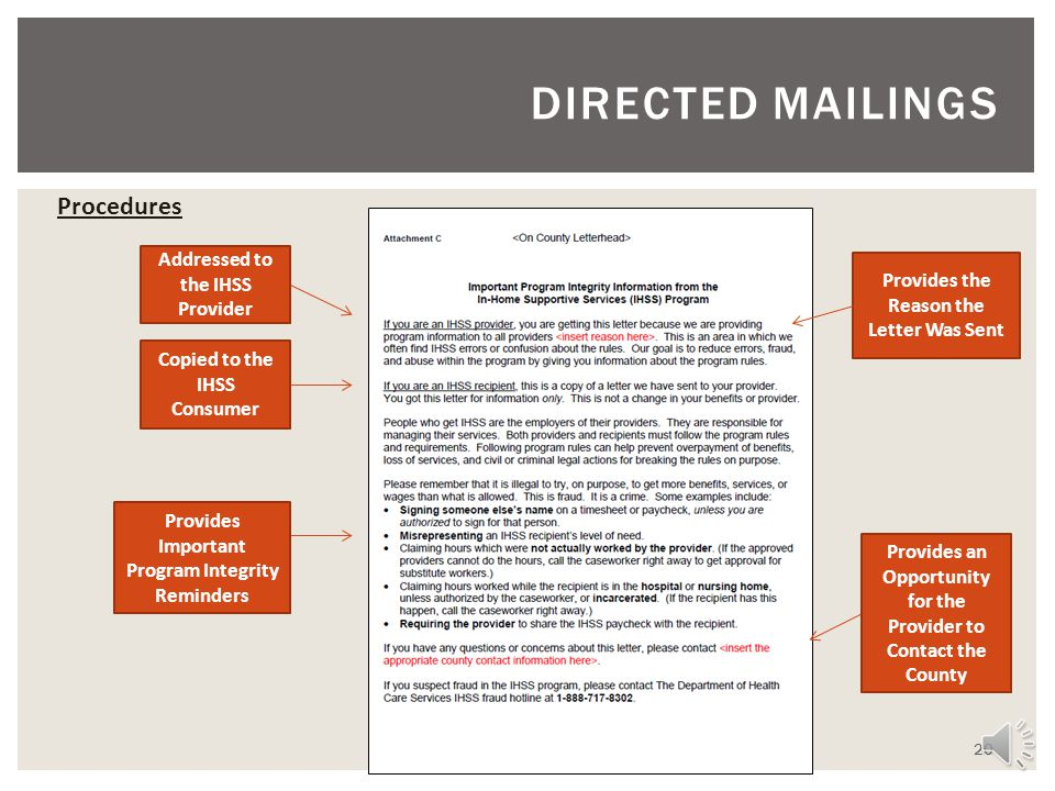 DIRECTED MAILINGS Procedures Addressed to the IHSS Provider