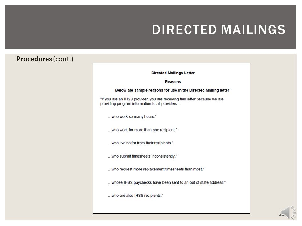 DIRECTED MAILINGS Procedures (cont.)