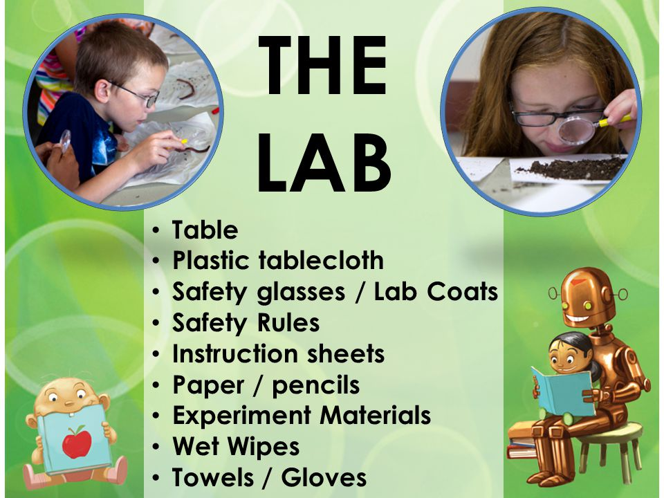 THE LAB Table Plastic tablecloth Safety glasses / Lab Coats