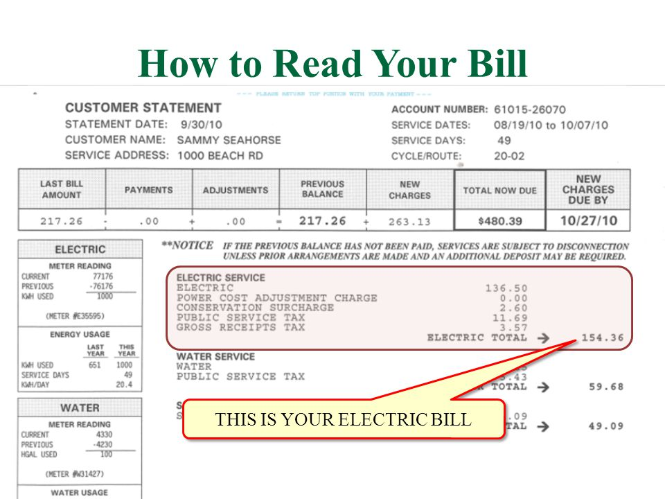 THIS IS YOUR ELECTRIC BILL