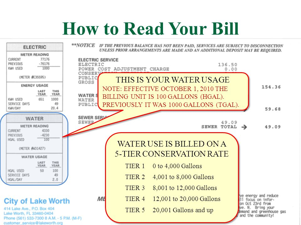 How to Read Your Bill THIS IS YOUR WATER USAGE