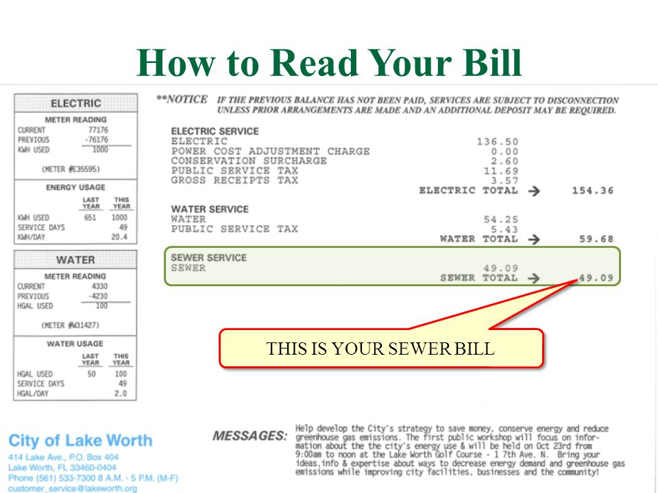 How to Read Your Bill THIS IS YOUR SEWER BILL