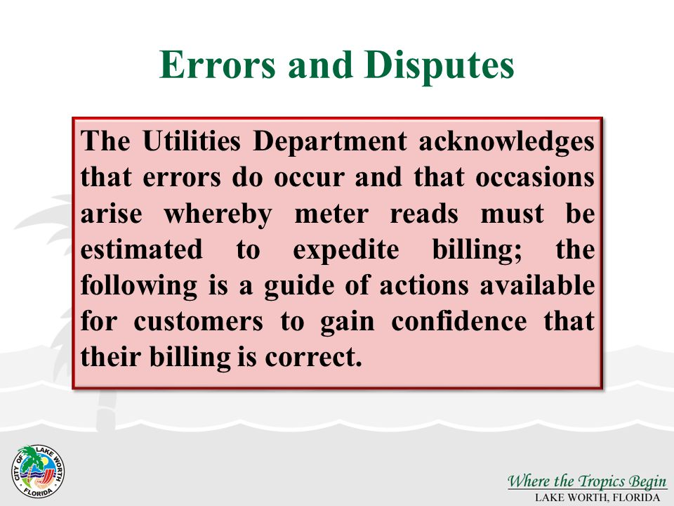 Errors and Disputes
