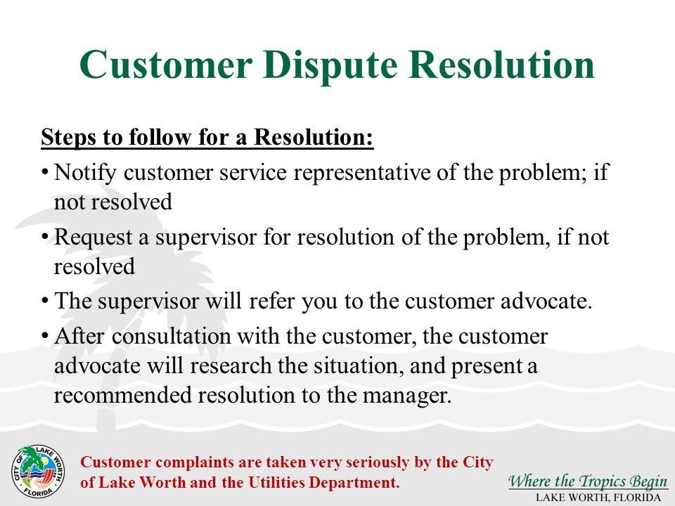 Customer Dispute Resolution