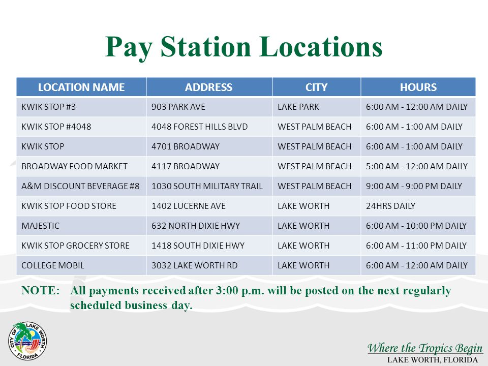 Pay Station Locations LOCATION NAME ADDRESS CITY HOURS