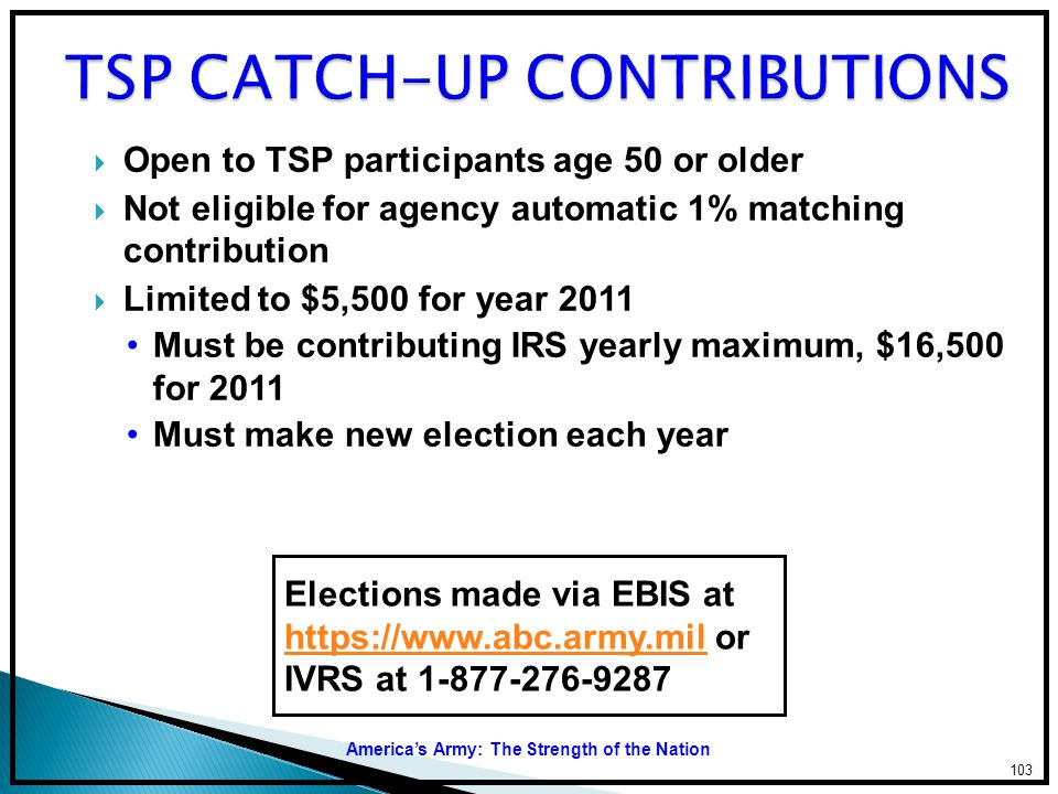 TSP CATCH-UP CONTRIBUTIONS