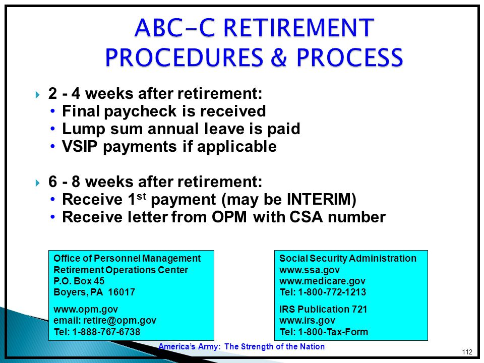 ABC-C RETIREMENT PROCEDURES & PROCESS