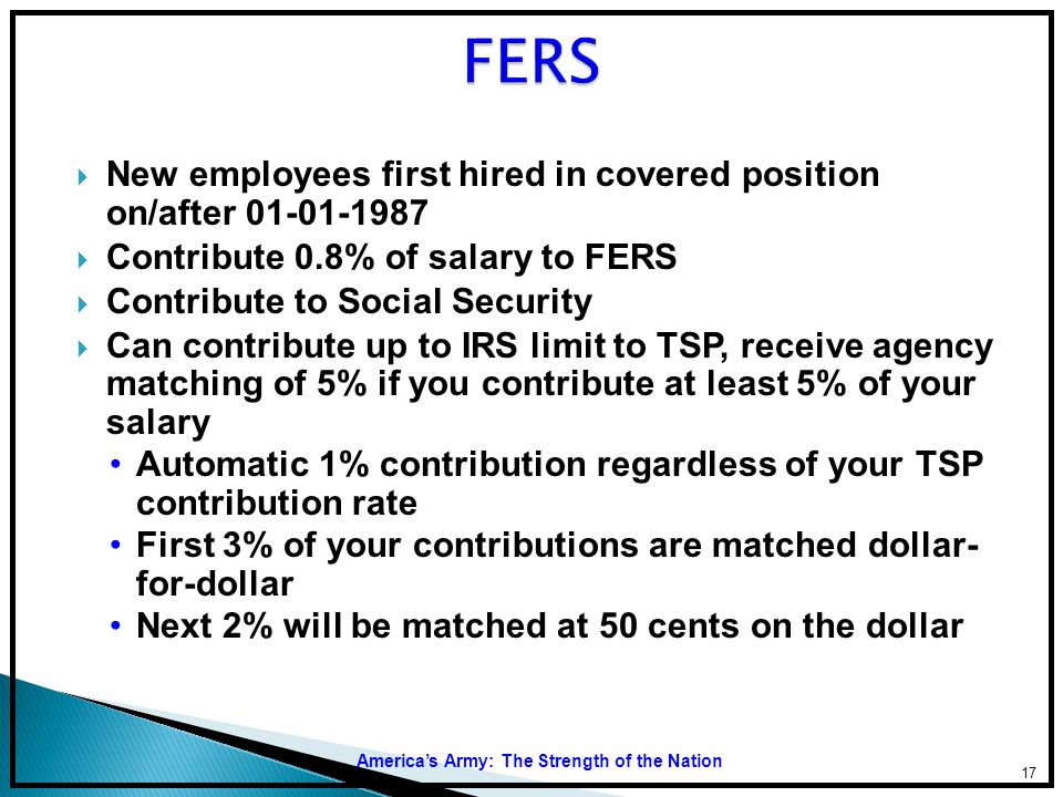 FERS New employees first hired in covered position on/after 01-01-1987