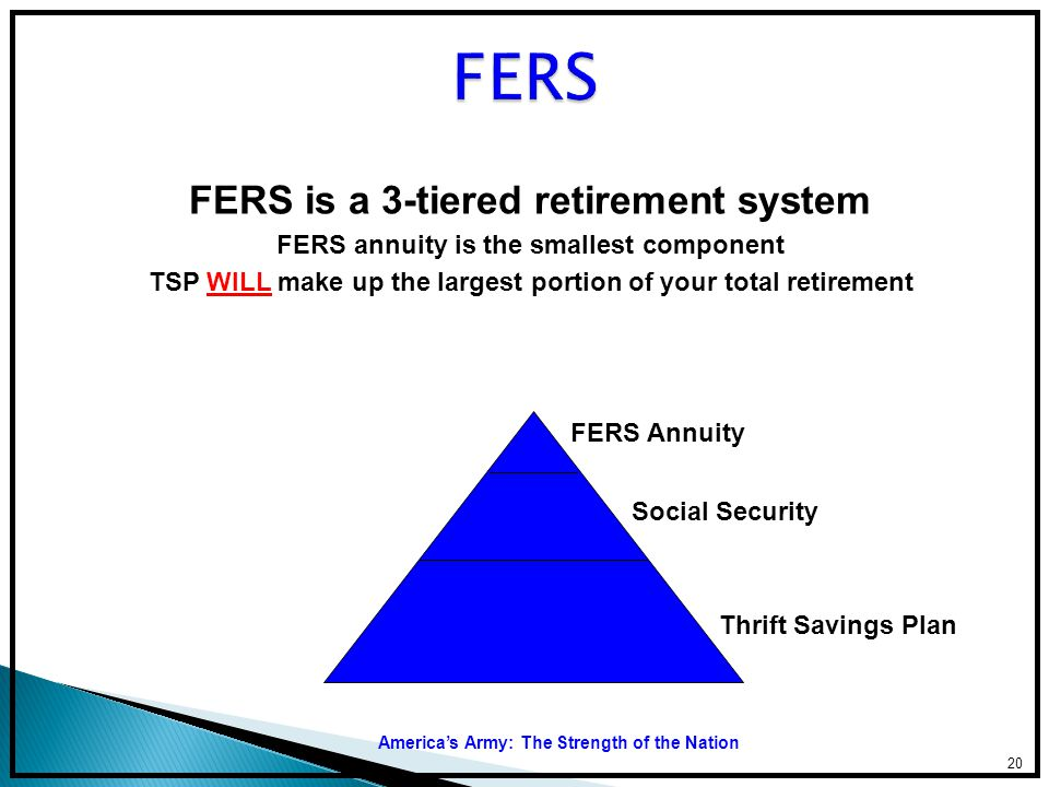 FERS FERS is a 3-tiered retirement system