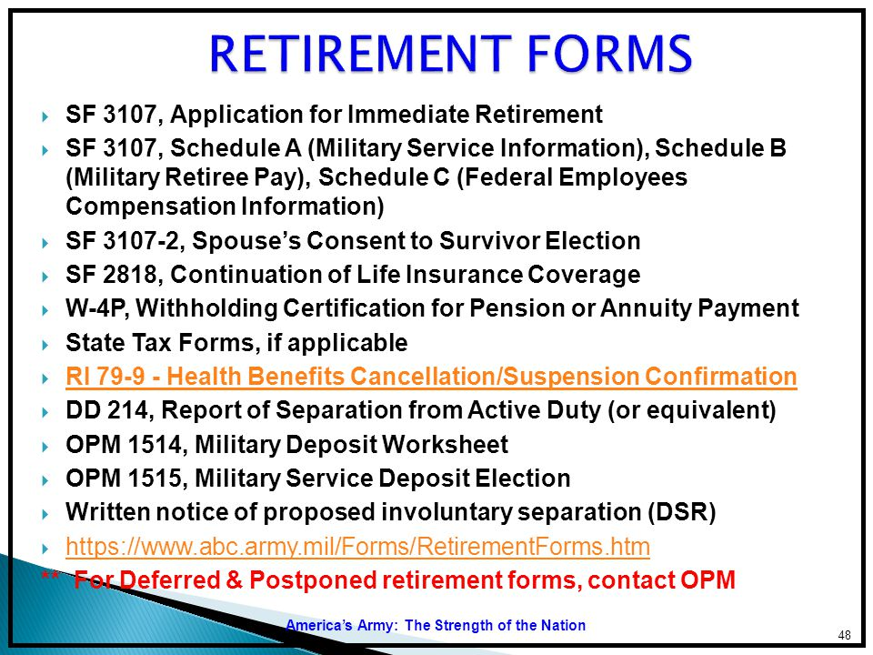 RETIREMENT FORMS SF 3107, Application for Immediate Retirement