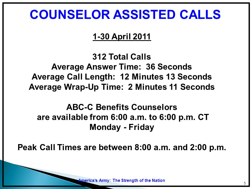 COUNSELOR ASSISTED CALLS
