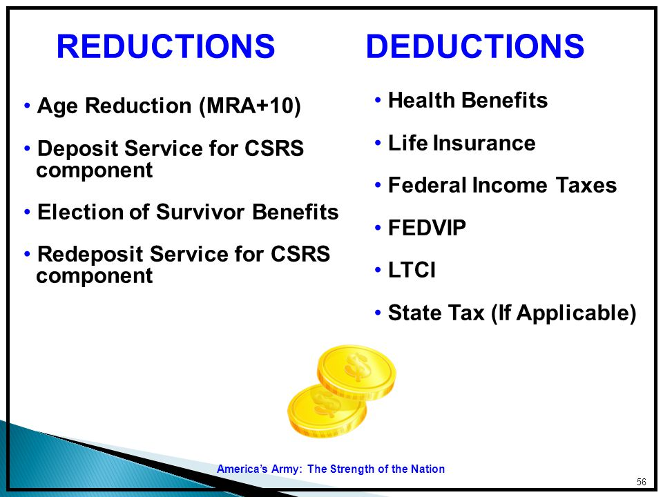 REDUCTIONS DEDUCTIONS