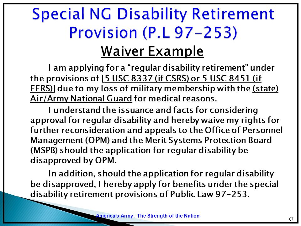 Special NG Disability Retirement Provision (P.L 97-253)