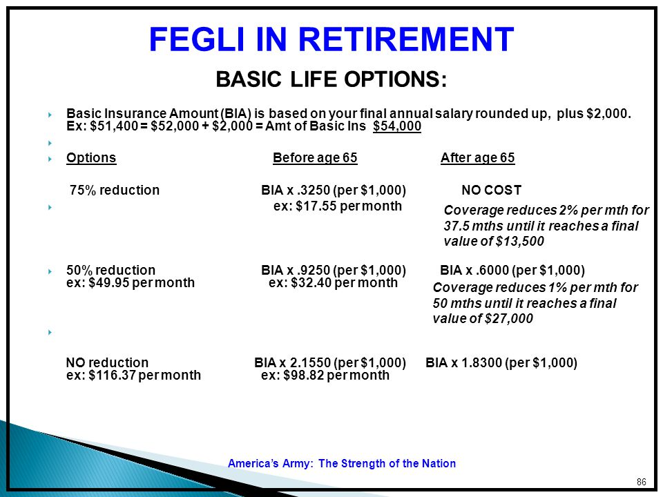 FEGLI IN RETIREMENT BASIC LIFE OPTIONS: