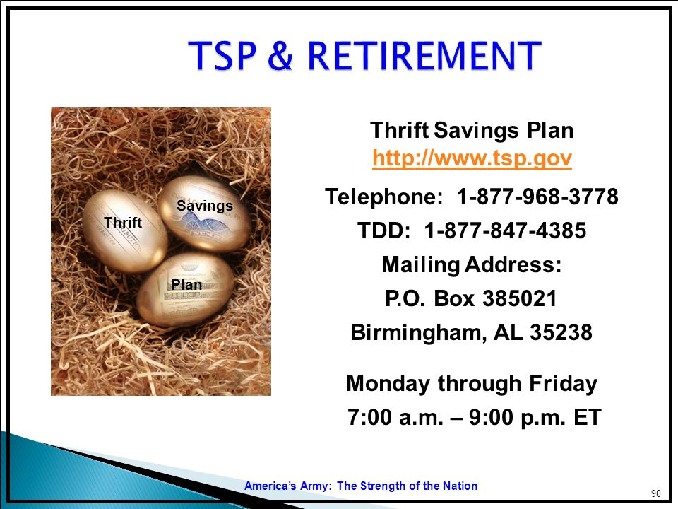 TSP & RETIREMENT Thrift Savings Plan http://www.tsp.gov