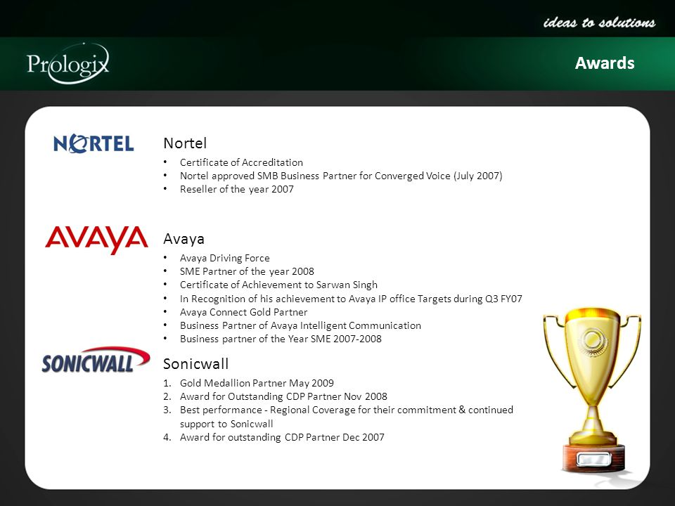 Awards Nortel Avaya Sonicwall Certificate of Accreditation