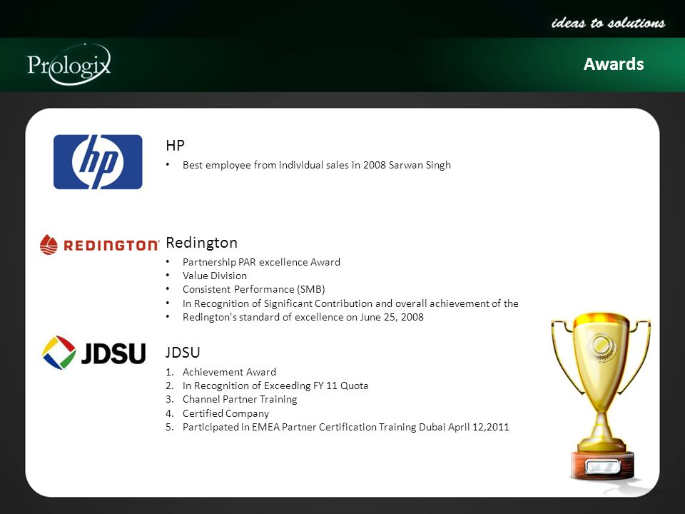 Awards HP Redington JDSU
