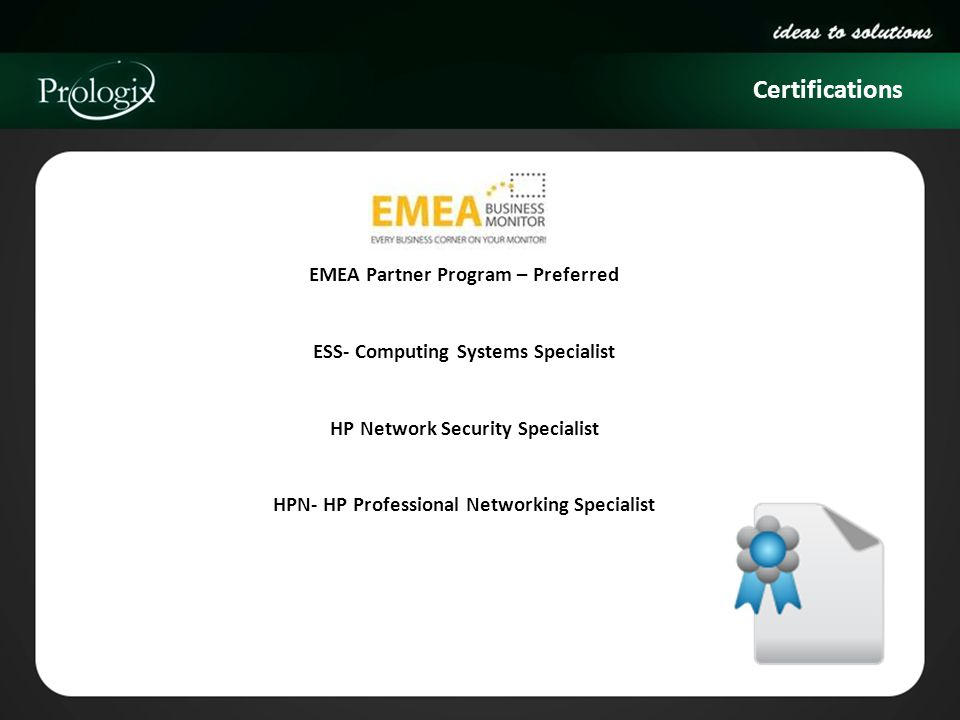 Certifications EMEA Partner Program – Preferred