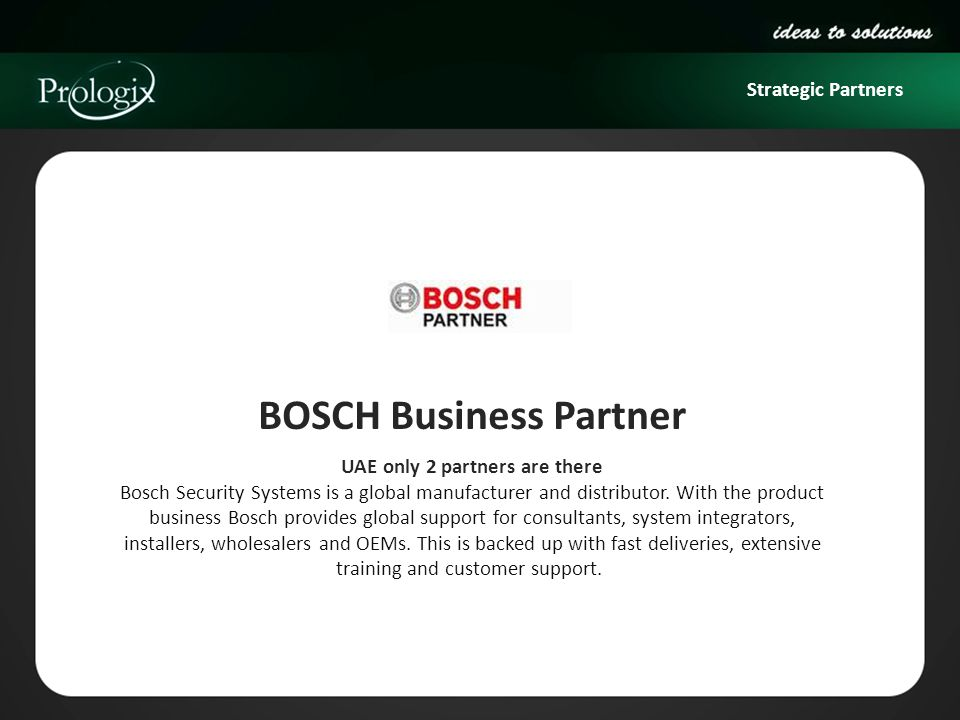 BOSCH Business Partner UAE only 2 partners are there