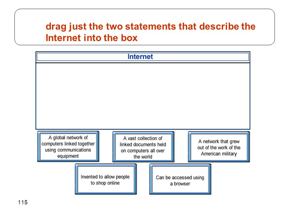 drag just the two statements that describe the Internet into the box