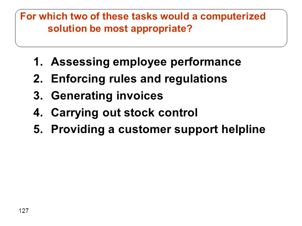 Assessing employee performance Enforcing rules and regulations