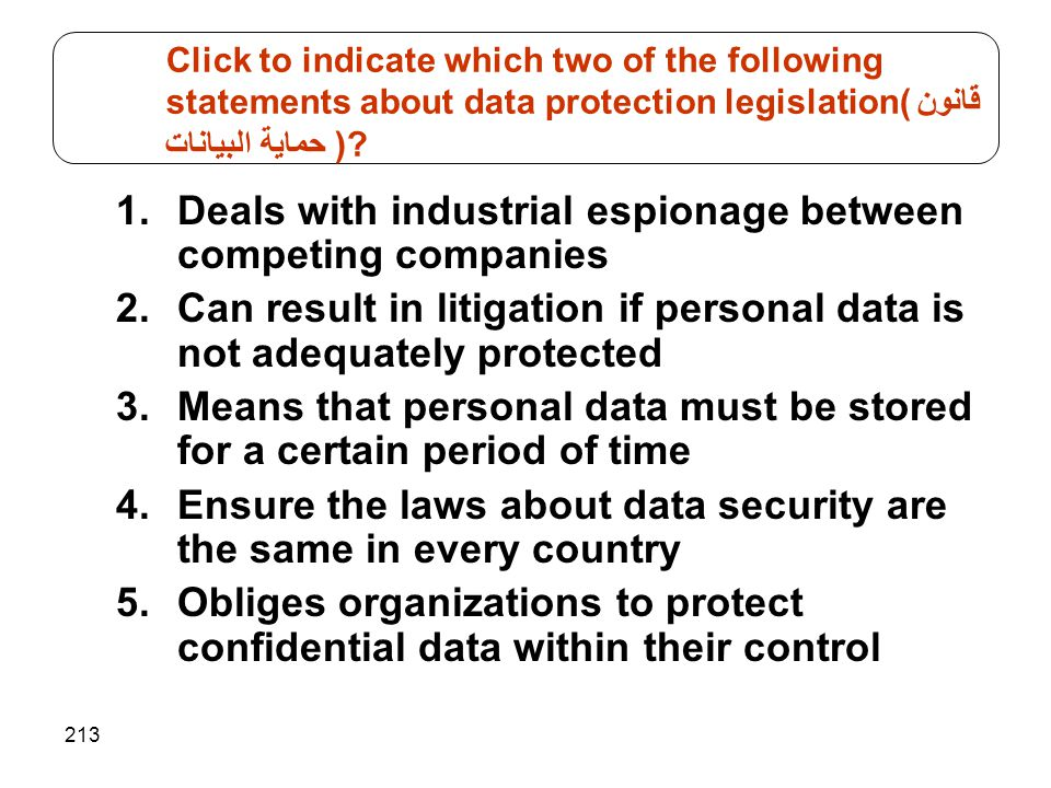 Click to indicate which two of the following statements about data protection legislation(قانون حماية البيانات )