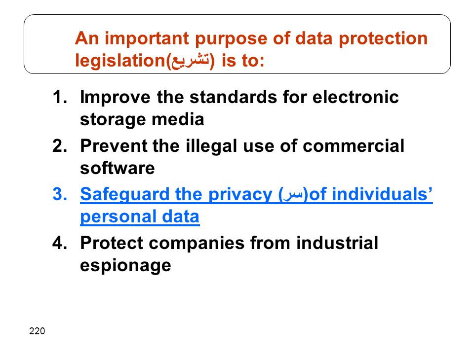 An important purpose of data protection legislation(تشريع) is to: