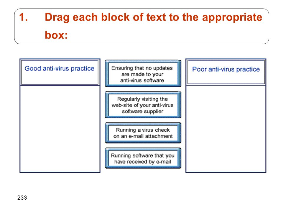 Drag each block of text to the appropriate box:
