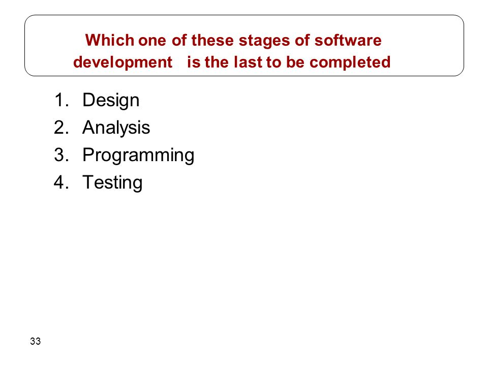 Which one of these stages of software development is the last to be completed