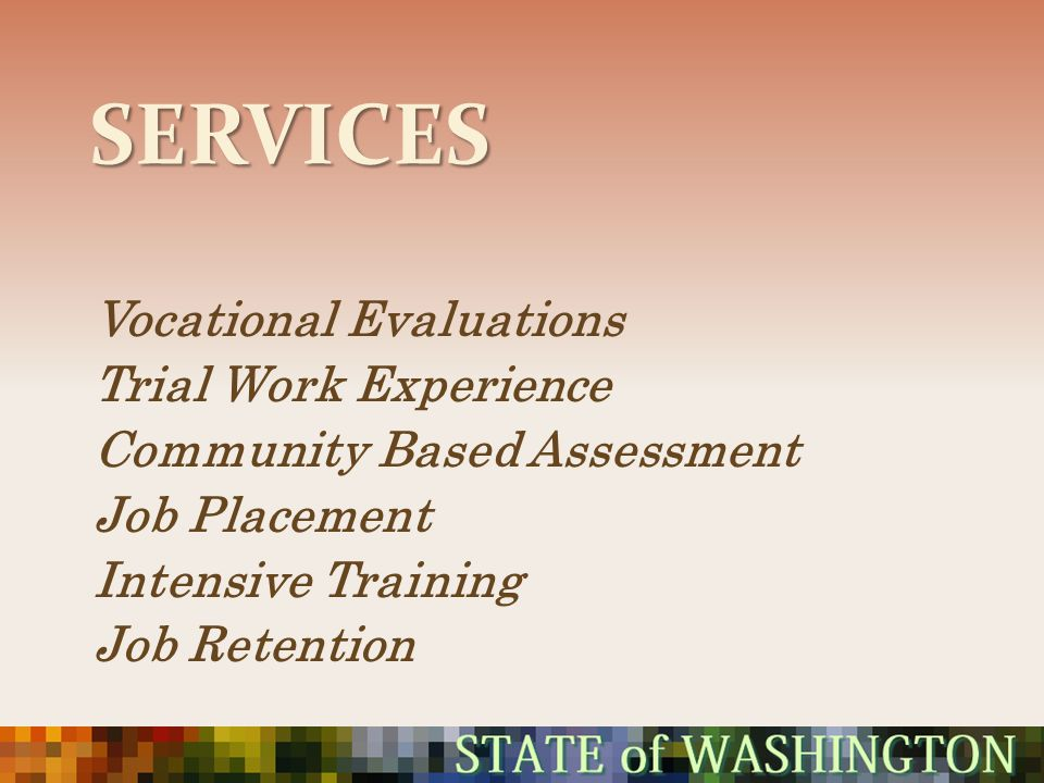 Services Vocational Evaluations Trial Work Experience
