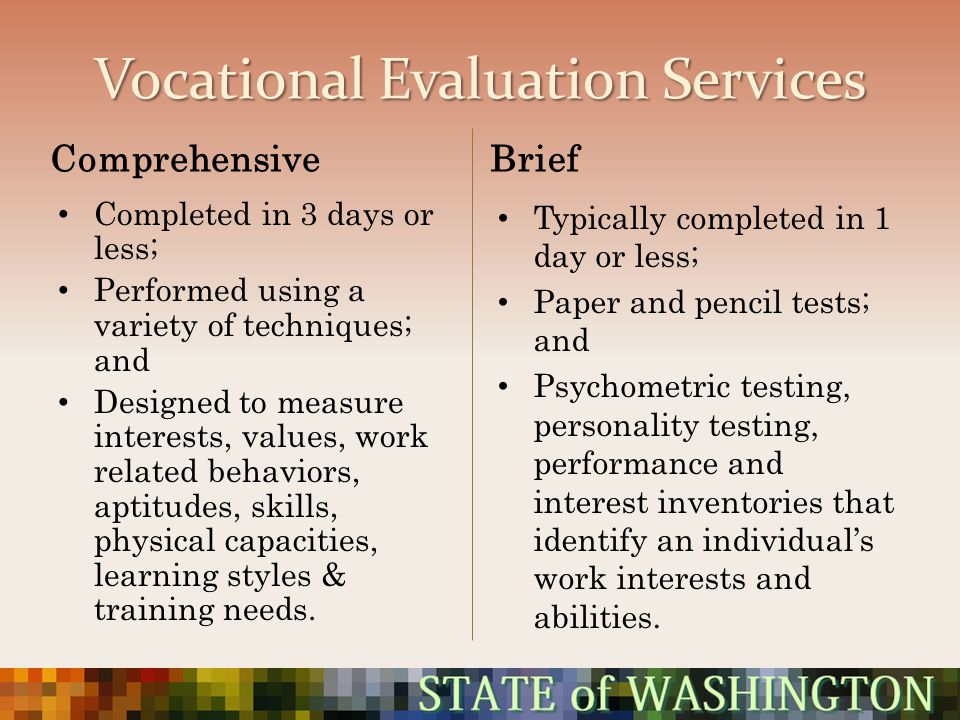 Vocational Evaluation Services