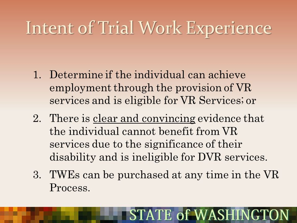 Intent of Trial Work Experience