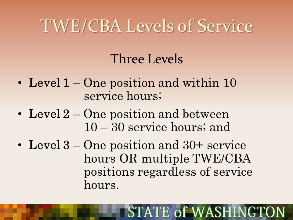 TWE/CBA Levels of Service