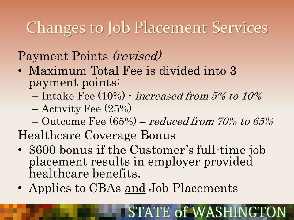 Changes to Job Placement Services