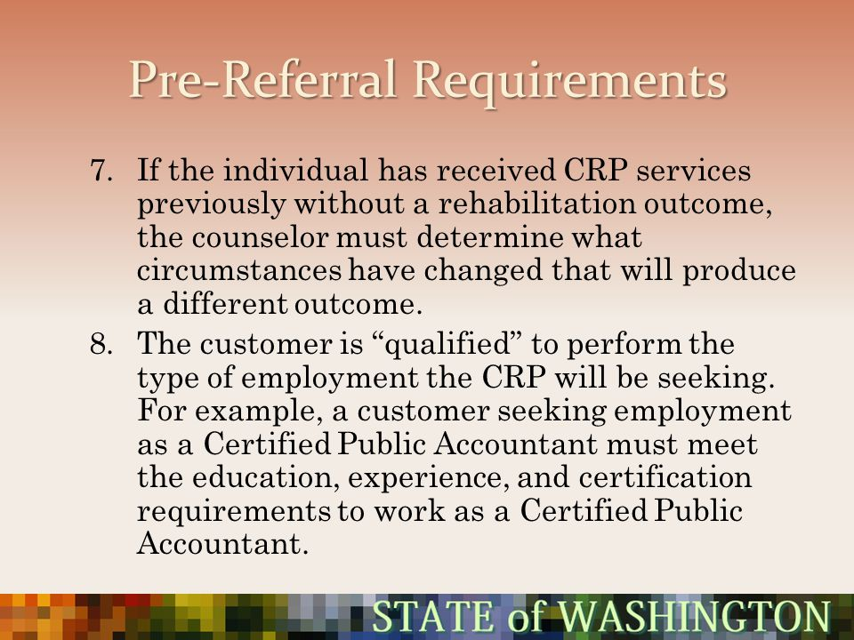 Pre-Referral Requirements