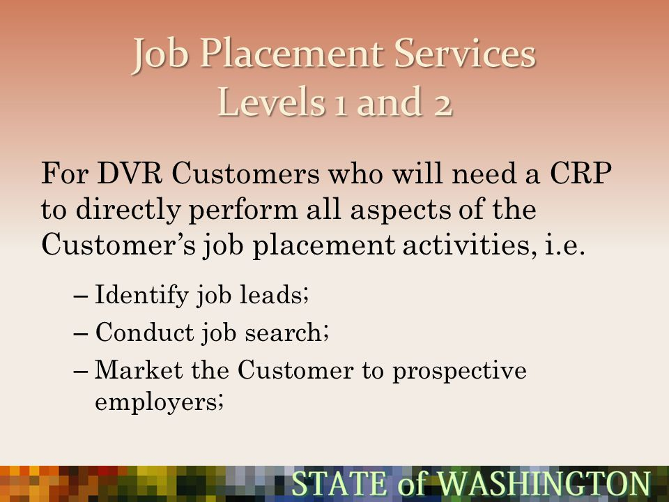 Job Placement Services Levels 1 and 2