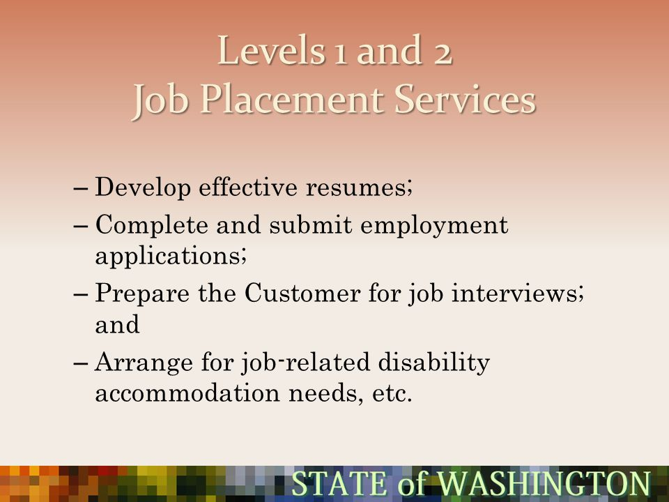 Levels 1 and 2 Job Placement Services