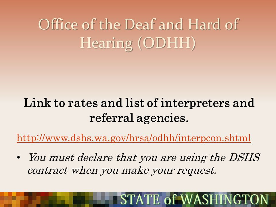 Office of the Deaf and Hard of Hearing (ODHH)