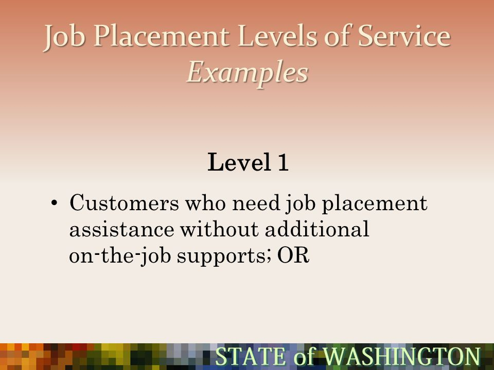 Job Placement Levels of Service Examples