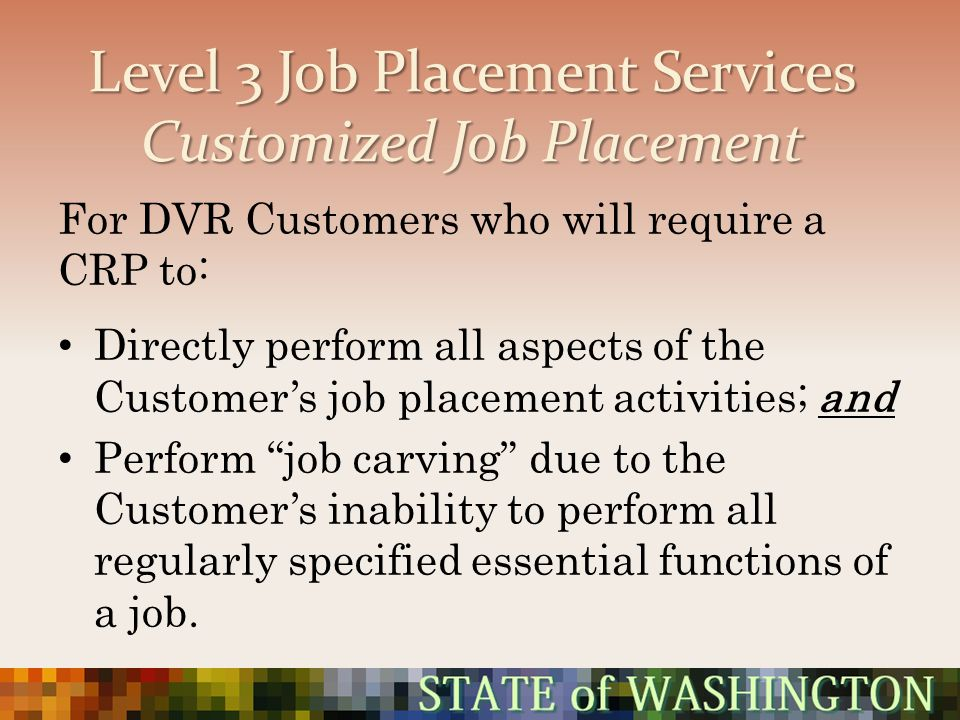 Level 3 Job Placement Services Customized Job Placement