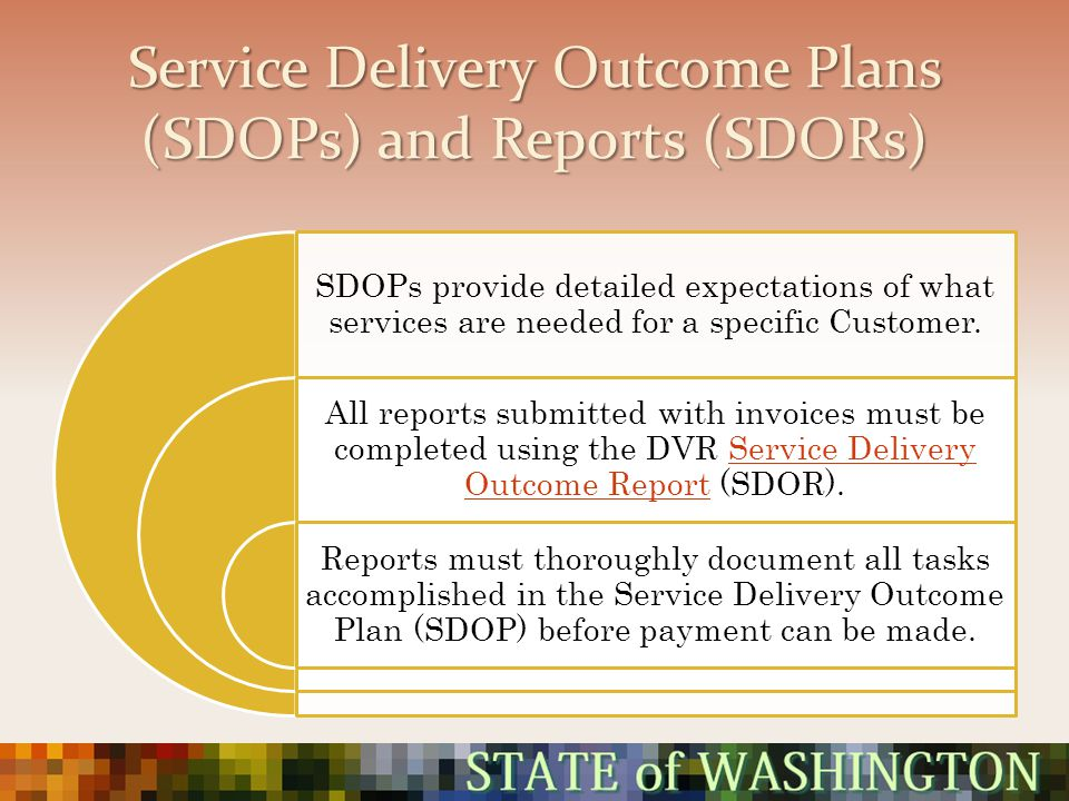 Service Delivery Outcome Plans (SDOPs) and Reports (SDORs)