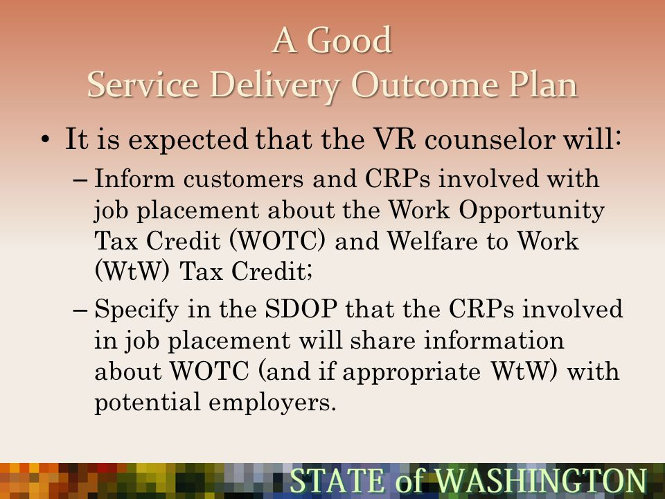 A Good Service Delivery Outcome Plan